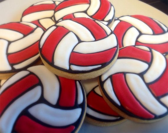 Custom Volleyball Cookies 1 Dozen On Etsy 34 00 Volleyball Cookies Volleyball Cakes Volleyball Birthday Party