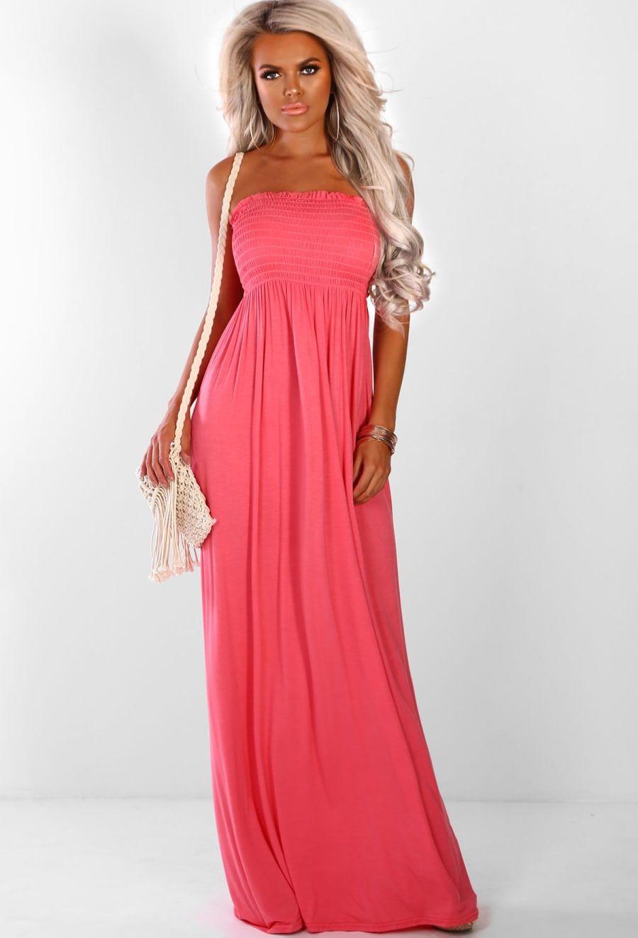 Beach Ready Coral Strapless Jersey Maxi Dress Pink Boutique Maxi Dress Dresses Maxi Jersey Dress [ 1322 x 900 Pixel ]