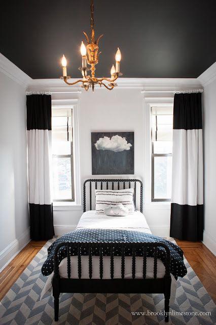 Black And White Kid S Room In Progress Black And White Living Room White Kids Room Curtains Living Room