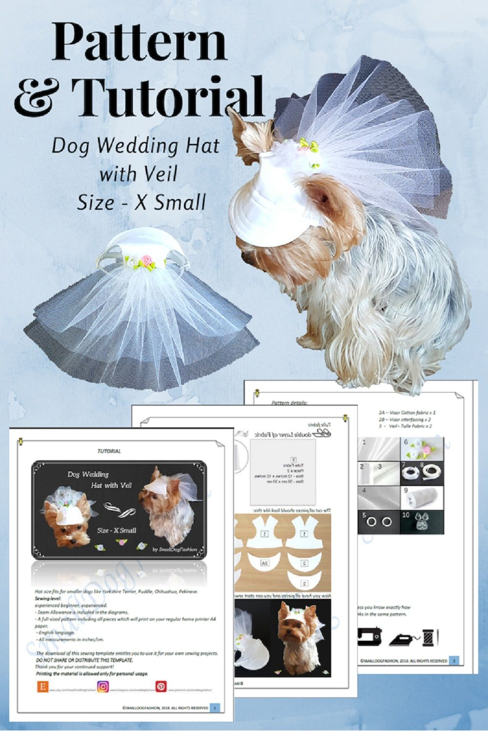 Dog Hat Pattern Pdf Wedding Dog Hat With Veil Pet Clothes Pdf Small Dog Clothes Hat For Dog Pdf Pattern Dog Clothes Wedding Dogs Pet Dog Hat Small Dog Clothes Dog