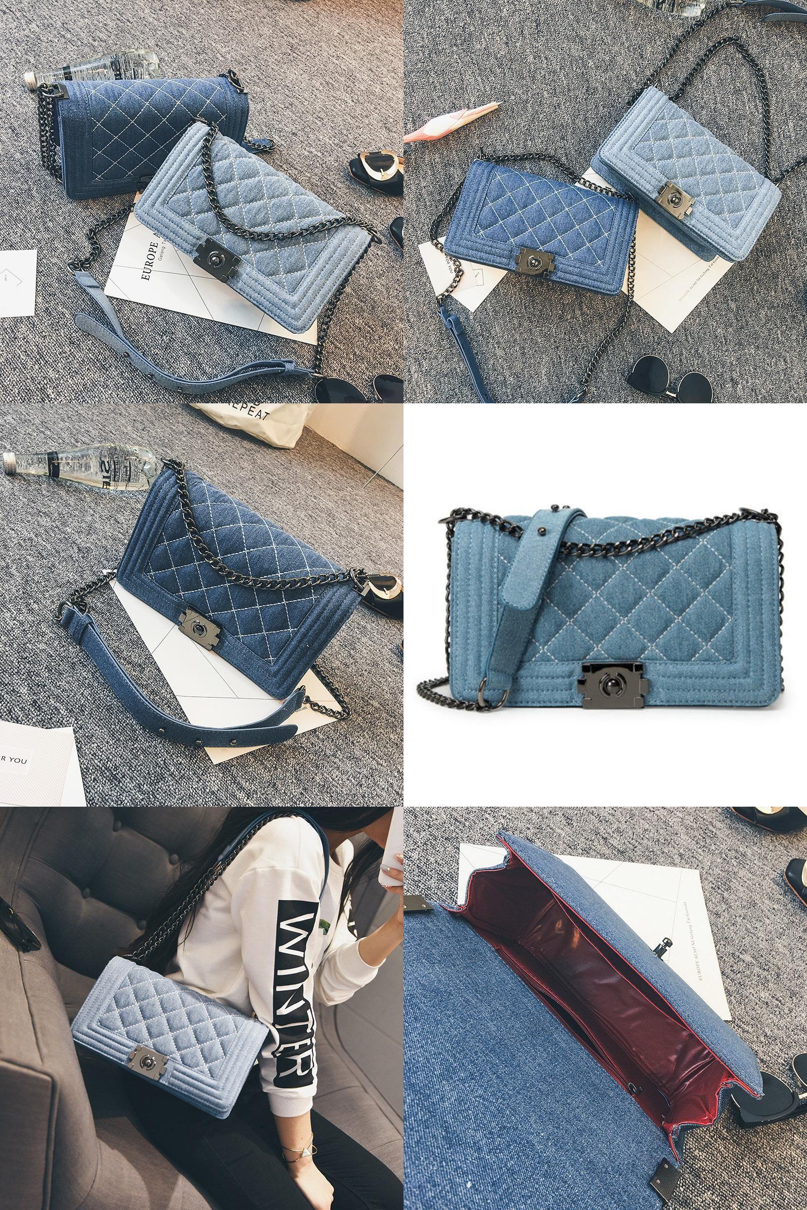 ec9981432e83  Visit to Buy  Brand Denim Bag Female Luxury Handbags Women Bags Designer  Small Chain