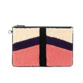 Patchwork Shearling and Suede Clutch by Jerome Dreyfuss
