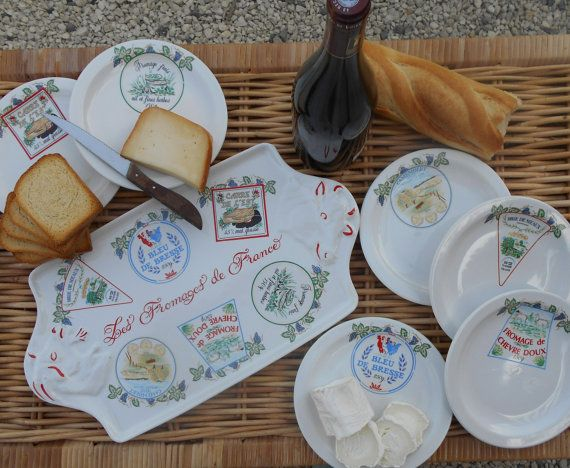 Vintage \u0027Les Fromages de France\u0027 Cheese Serving Platter with Six Cheese Plates in Vintage French Cheese Packaging Designs. & Vintage \u0027Les Fromages de France\u0027 Cheese by RusticFrenchTreasure ...