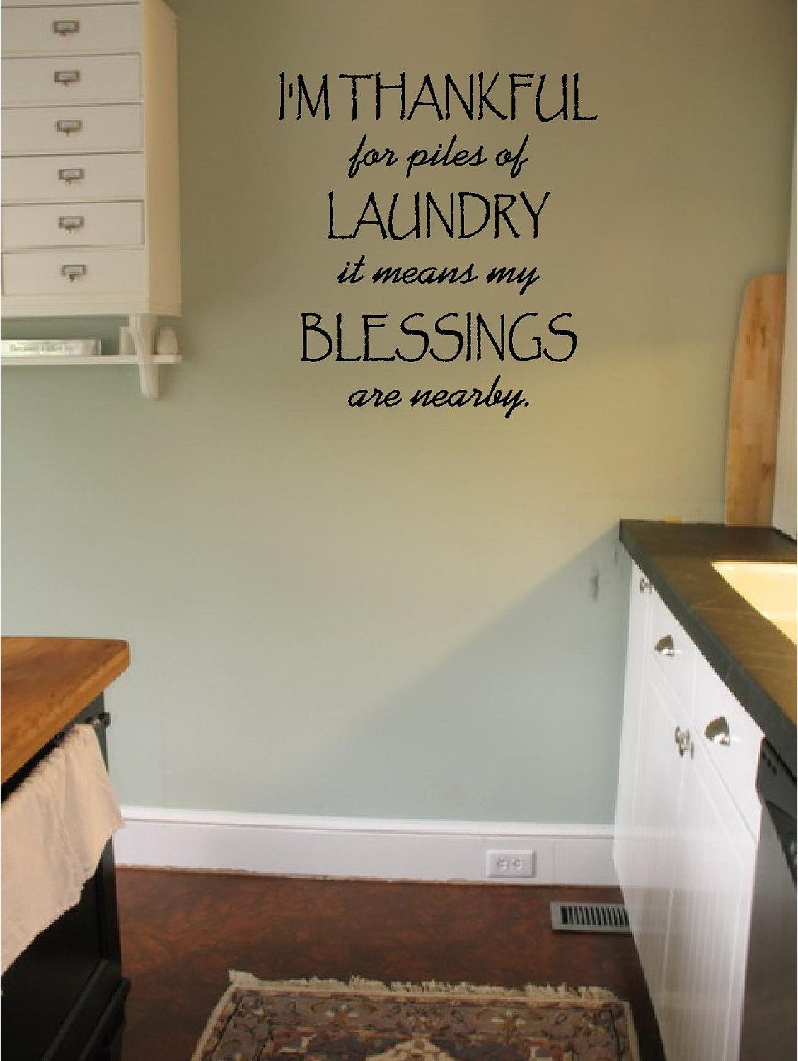 Laundry Wall Decals I'm Thankful For Piles Of Laundrylaundry Wall Decal Sticker