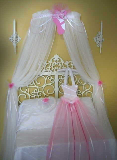 Princess Ballerina Fairy Bed Canopy Crown Ballet Style Netting Girls Bedroom & Princess Ballerina Fairy Bed Canopy Crown Ballet Style Netting ...