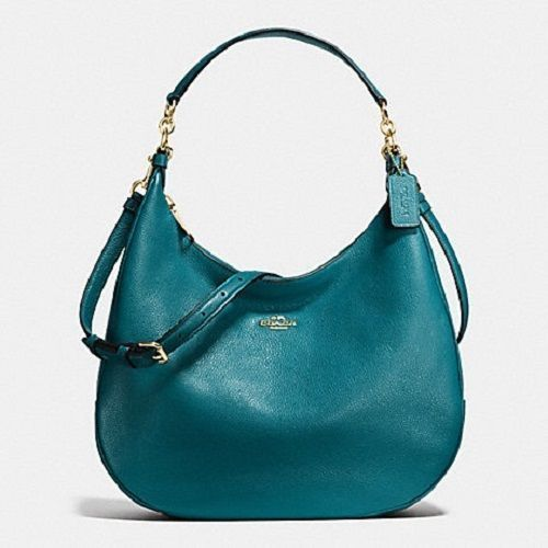 08a9e42b68 Coach Pebble Leather Harley Large Hobo Shoulder Bag Crossbody Atlantic Blue  Teal  Coach  Hobo