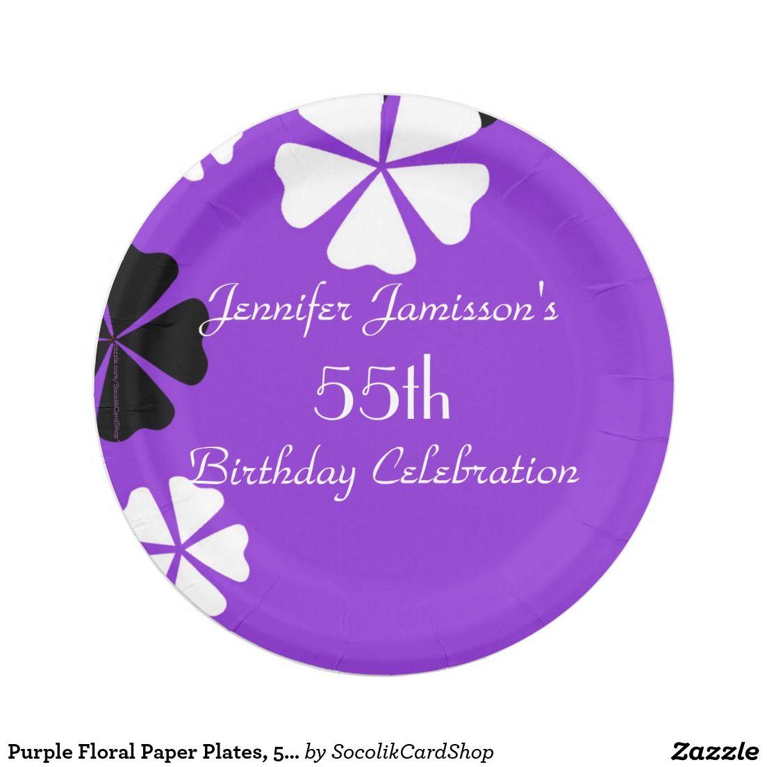 Purple Flower Paper Plates Akbaeenw