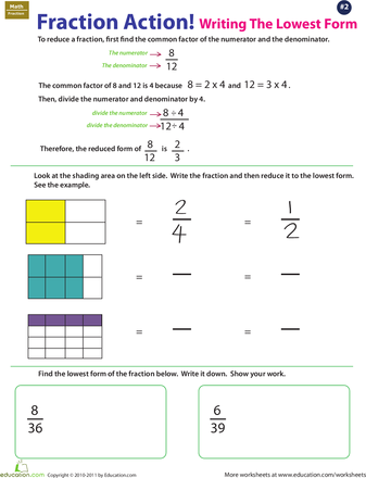 Fraction Action Reducing To Lowest Terms 2 Worksheet Education Com Lowest Terms Fractions Fractions Worksheets