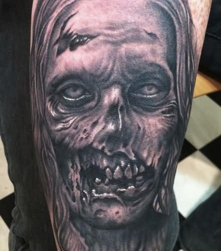 Grey Ink Zombie Tattoo On Right Sleeve