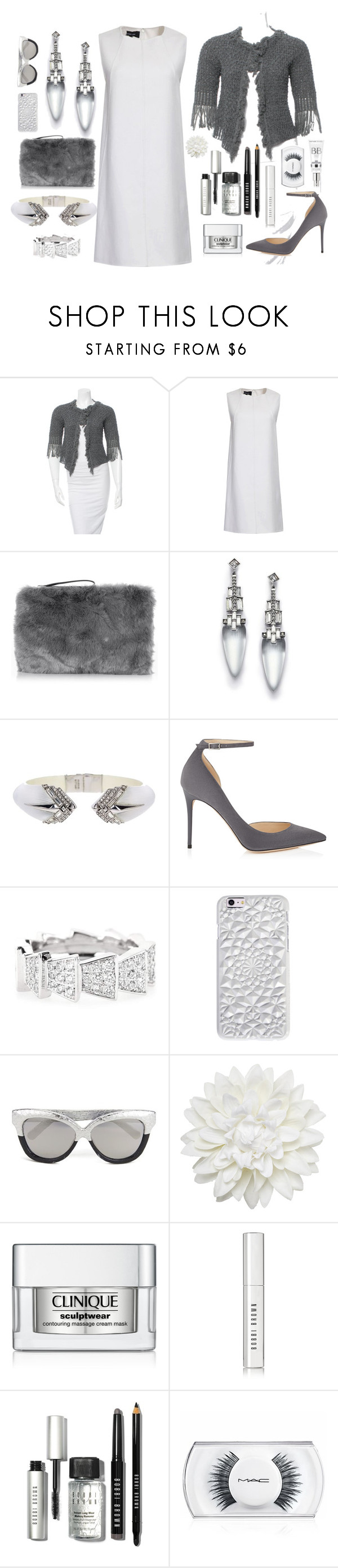 """Gray Cardigan"" by christine-sacco ❤ liked on Polyvore featuring Chanel, Oasis, Alexis Bittar, Jimmy Choo, Cada, Felony Case, Linda Farrow, Monki, Clinique and Bobbi Brown Cosmetics"