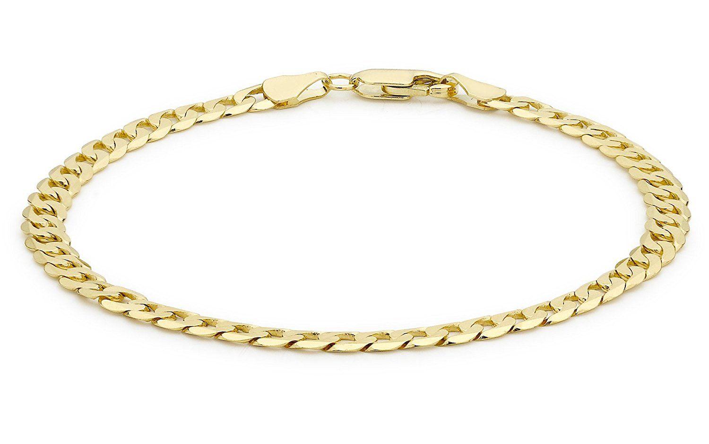 Carissima Gold Unisex 9 ct Yellow Gold Diamond Cut Flat Curb Chain Bracelet mtkaRh400v
