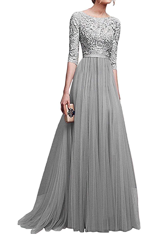 minetom damen elegant 3/4 Ärmel kurzarm brautjungfern kleid