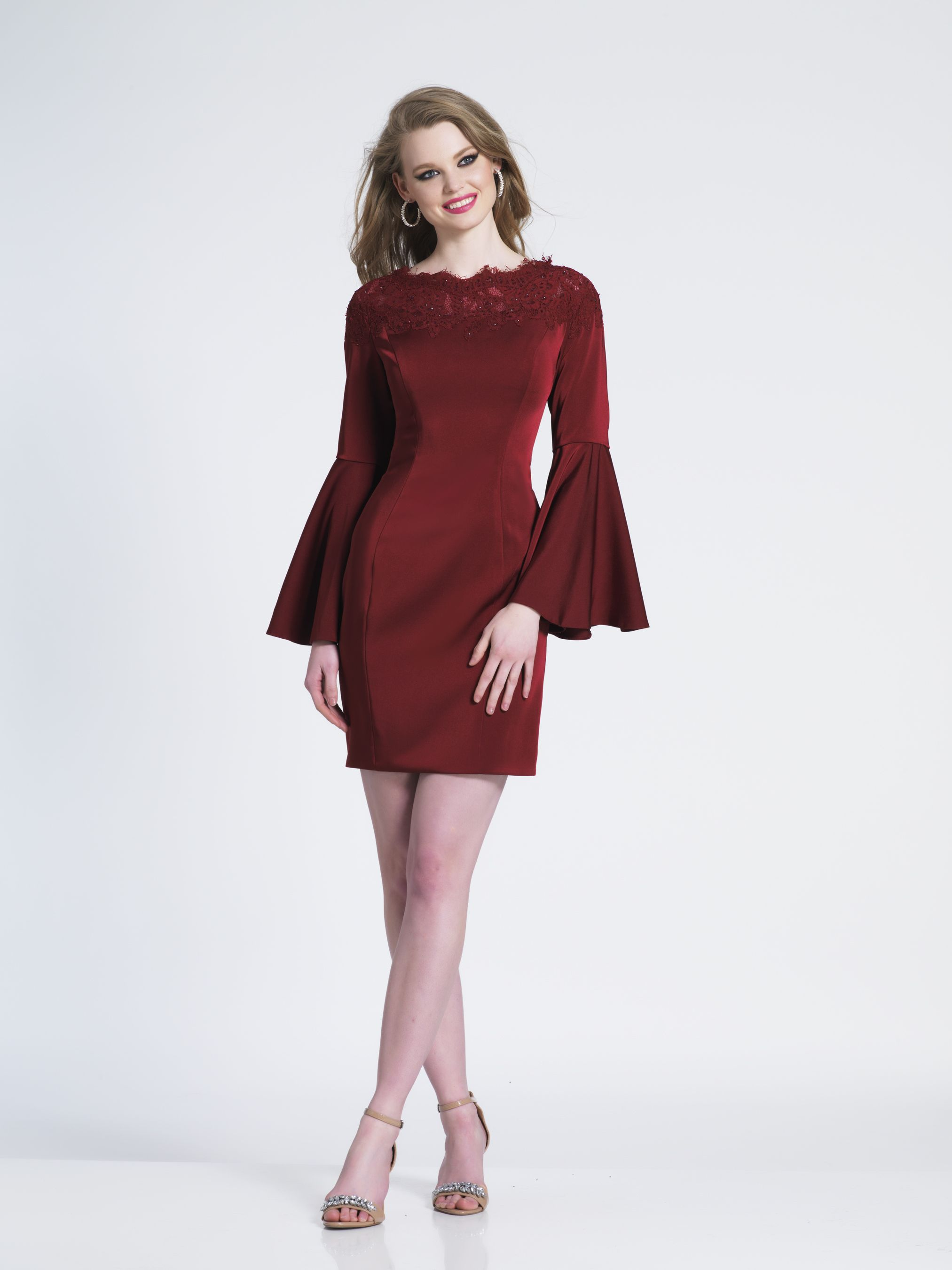 Embellished long bell sleeve cocktail dress by dave and johnny