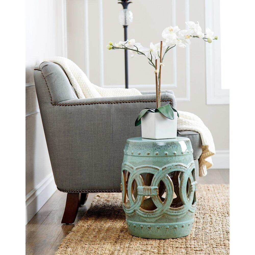 Tremendous Abbyson Moroccan Antiqued Turquoise Garden Stool Machost Co Dining Chair Design Ideas Machostcouk