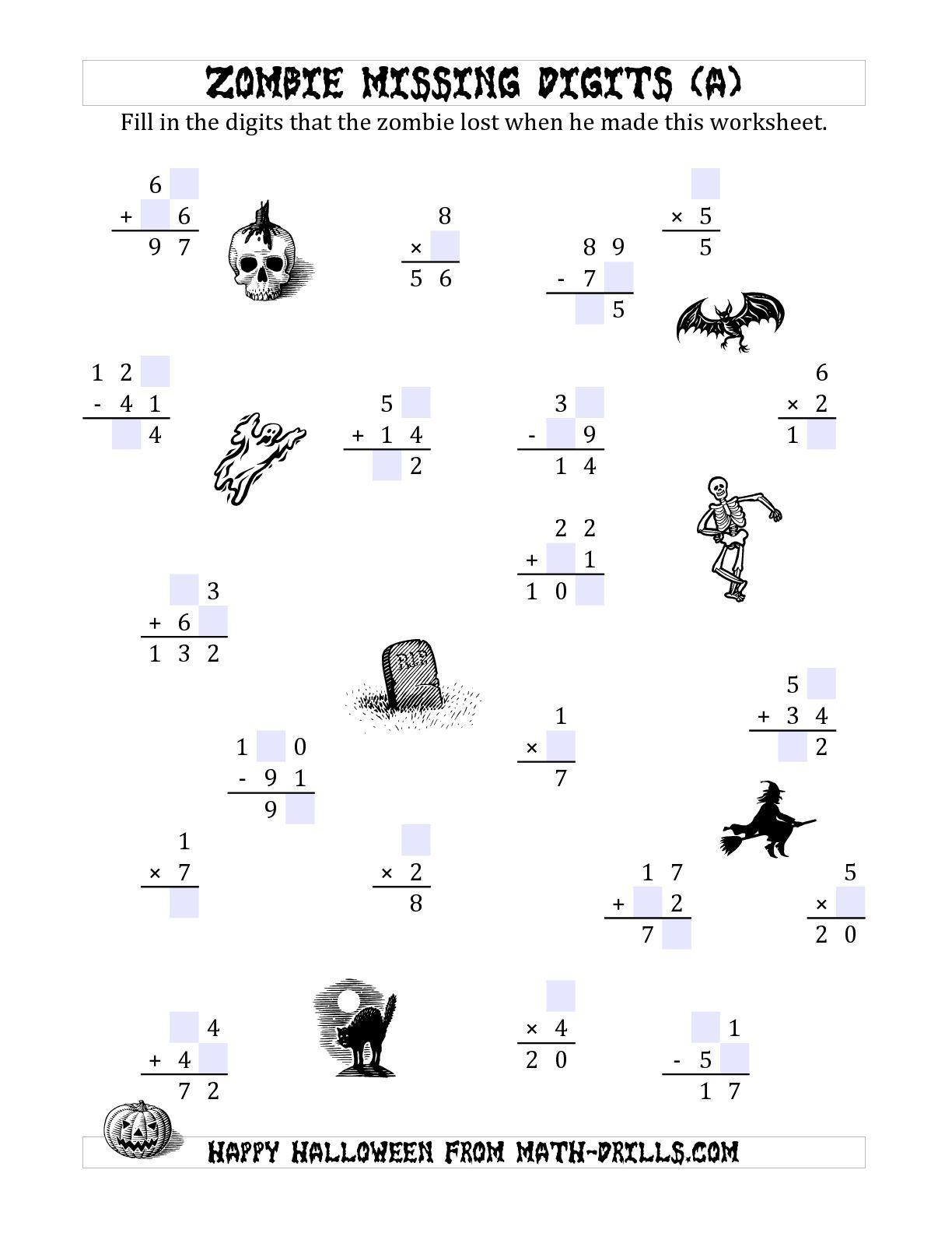 The Zombie Missing Digits A Math Worksheet From The Halloween Math Worksheets Page At Math