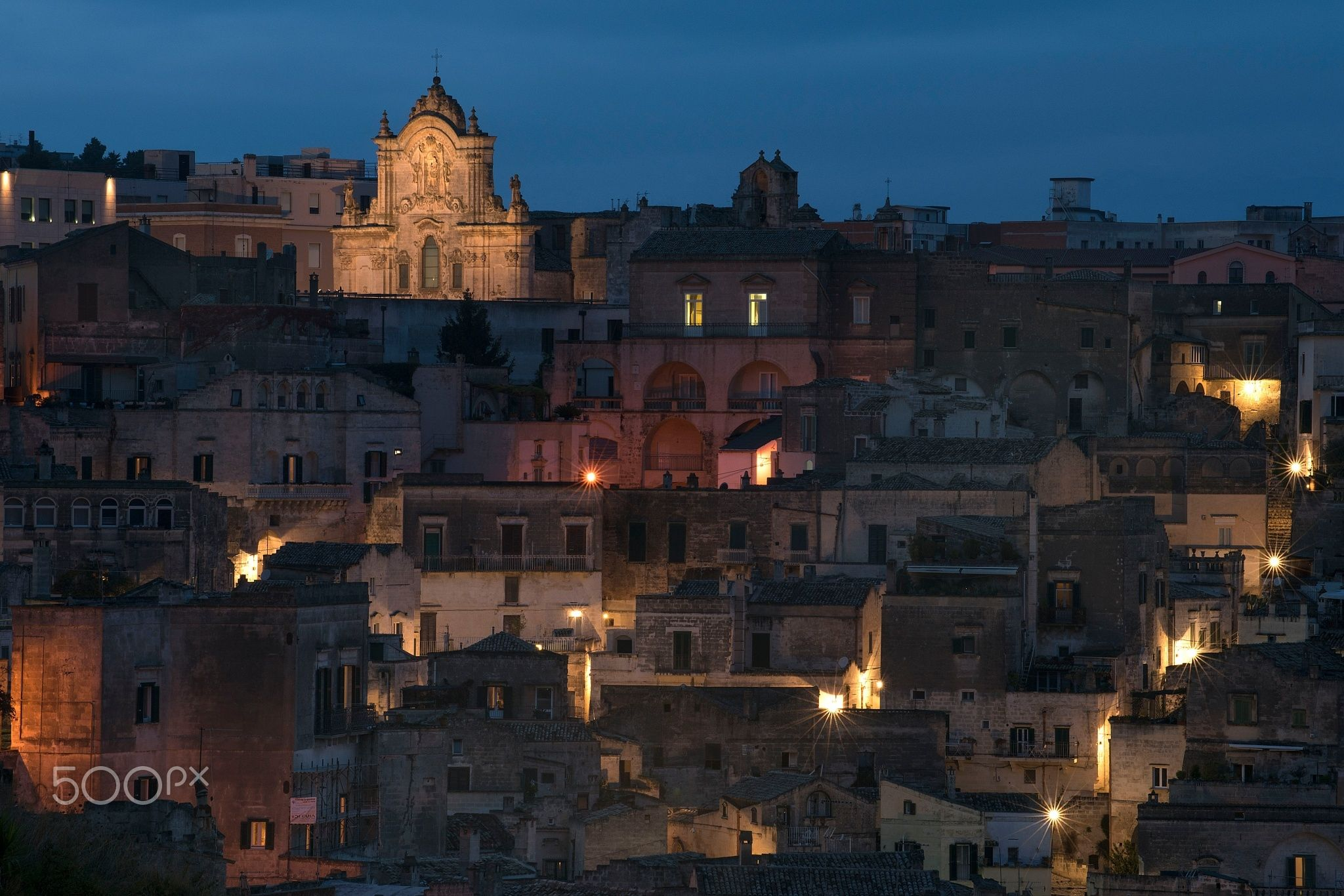Night Falls On The Sassi Di Matera Null Italian Landscapes
