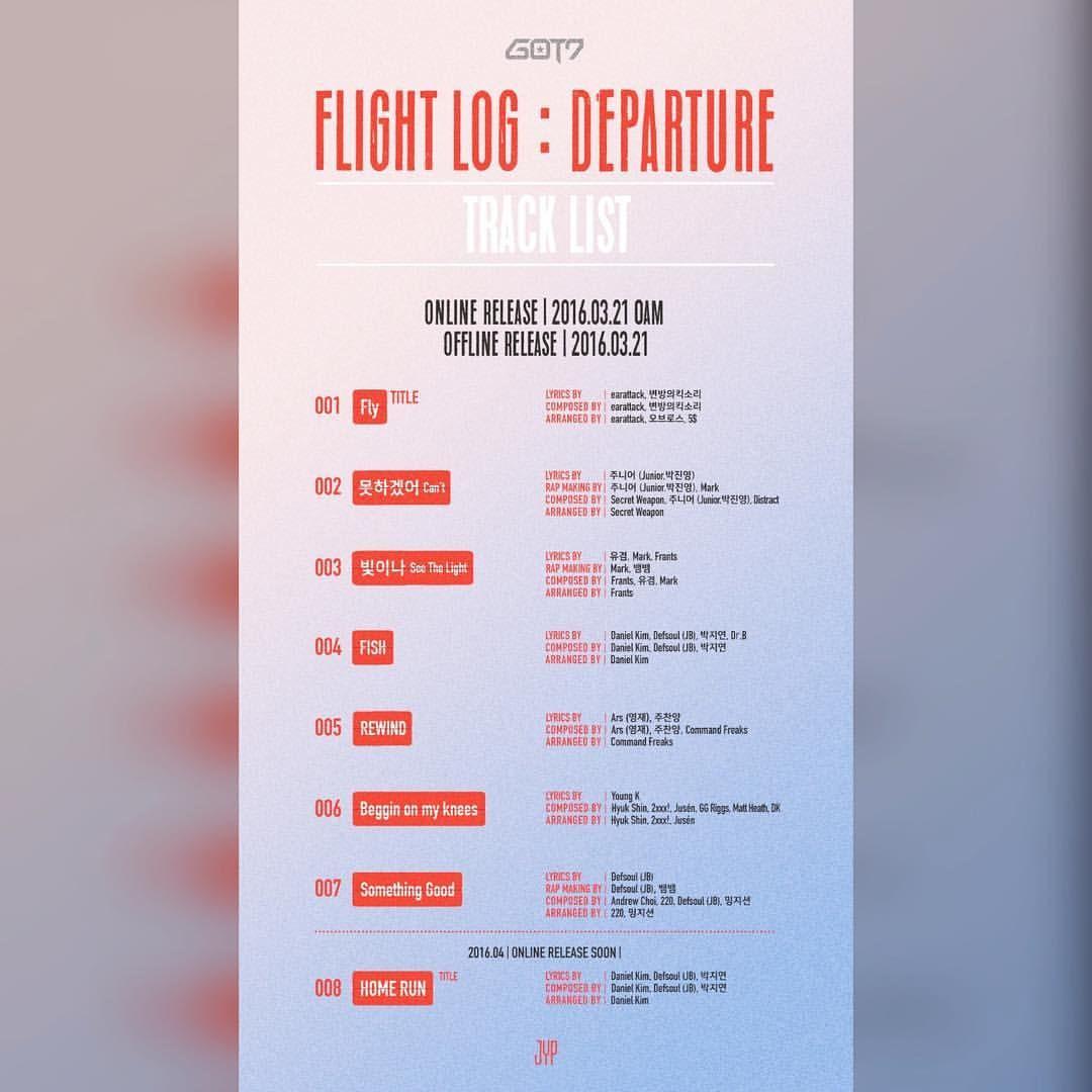 ;; GOT7 <FLIGHT LOG : DEPARTURE>  TRACK LIST  #GOT7 #IGOT7 #니가하 #JYP