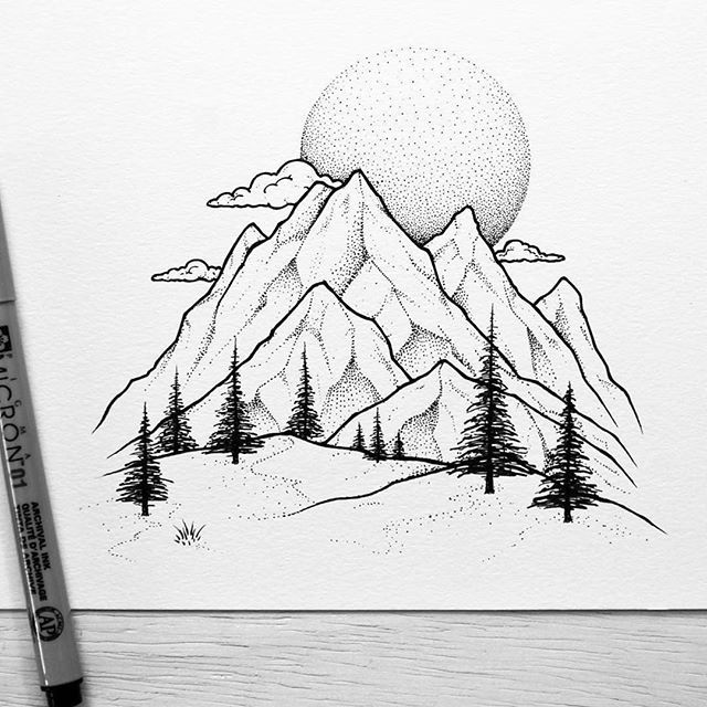 The detail of the trees and dot work on the mountains and for Example of landscape drawing