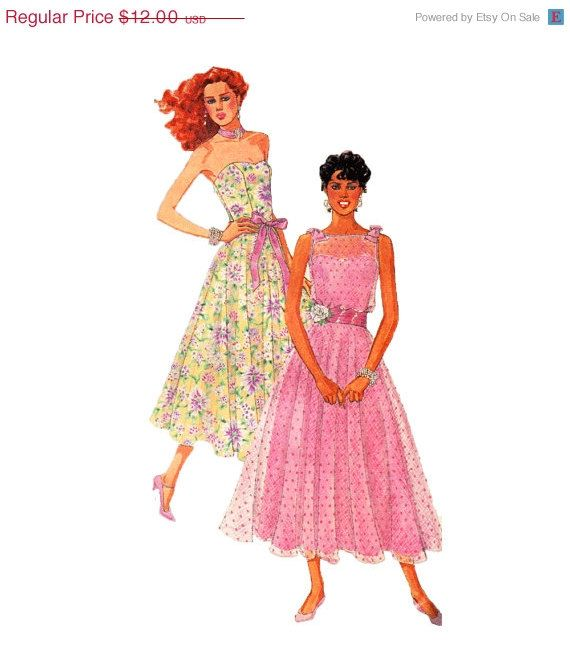 SALE 1980s Strapless Bustier Dress Sewing Pattern Tiered