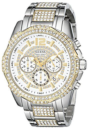 3d2812ea5 GUESS Men's U0291G4 Two-Tone Chronograph Watch with Genuine Crystals in  Silver-Tone & Gold-Tone - Jewelry For Her