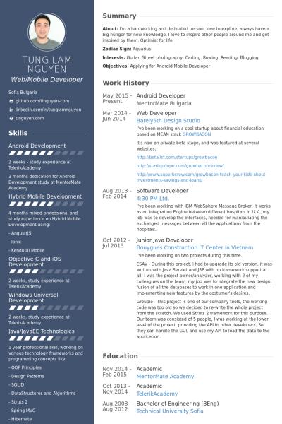Developer Resume Template | Android Developer Resume Example Resume Design Pinterest