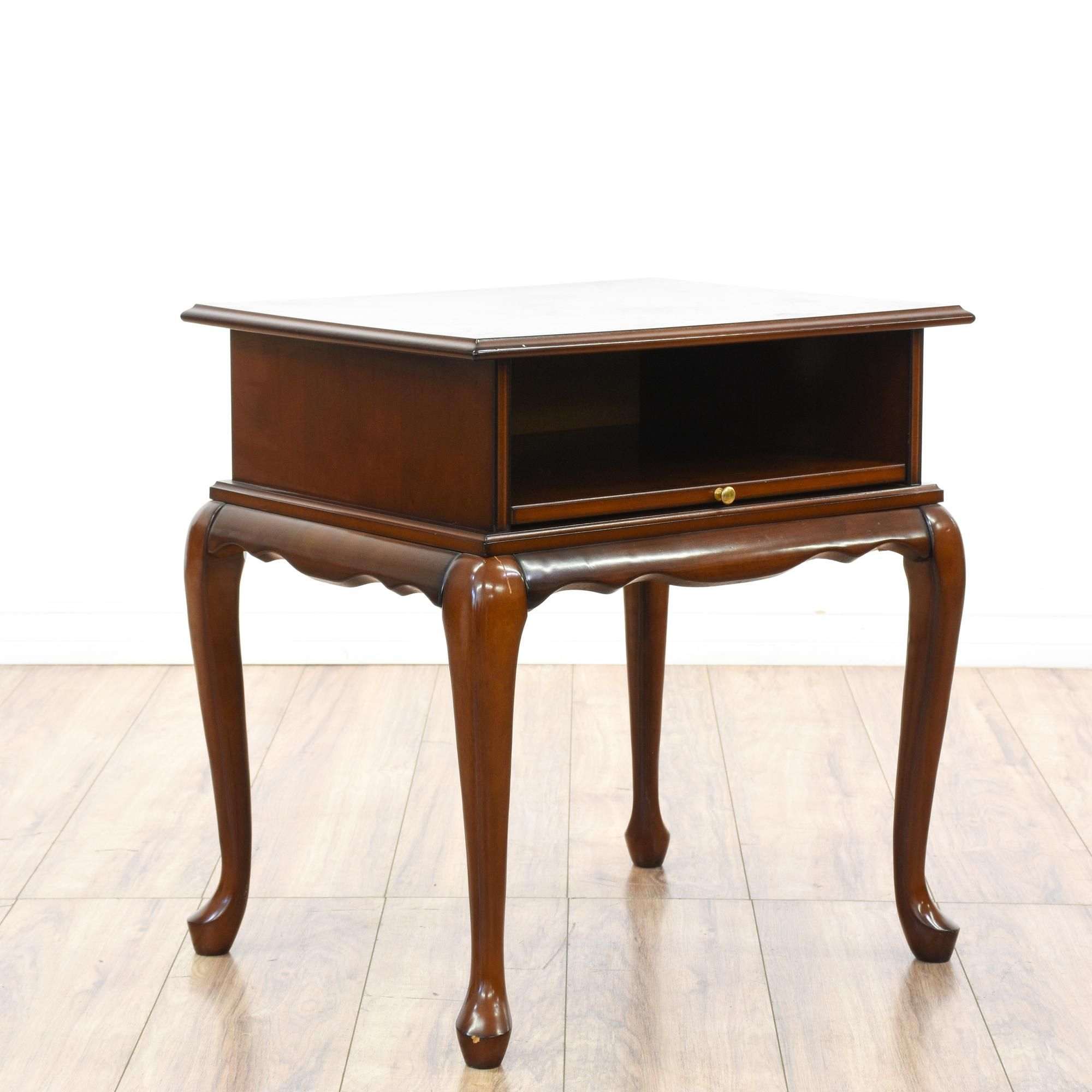 This Queen Anne Style Side Table Is Featured In A Solid Wood With A Glossy  Dark