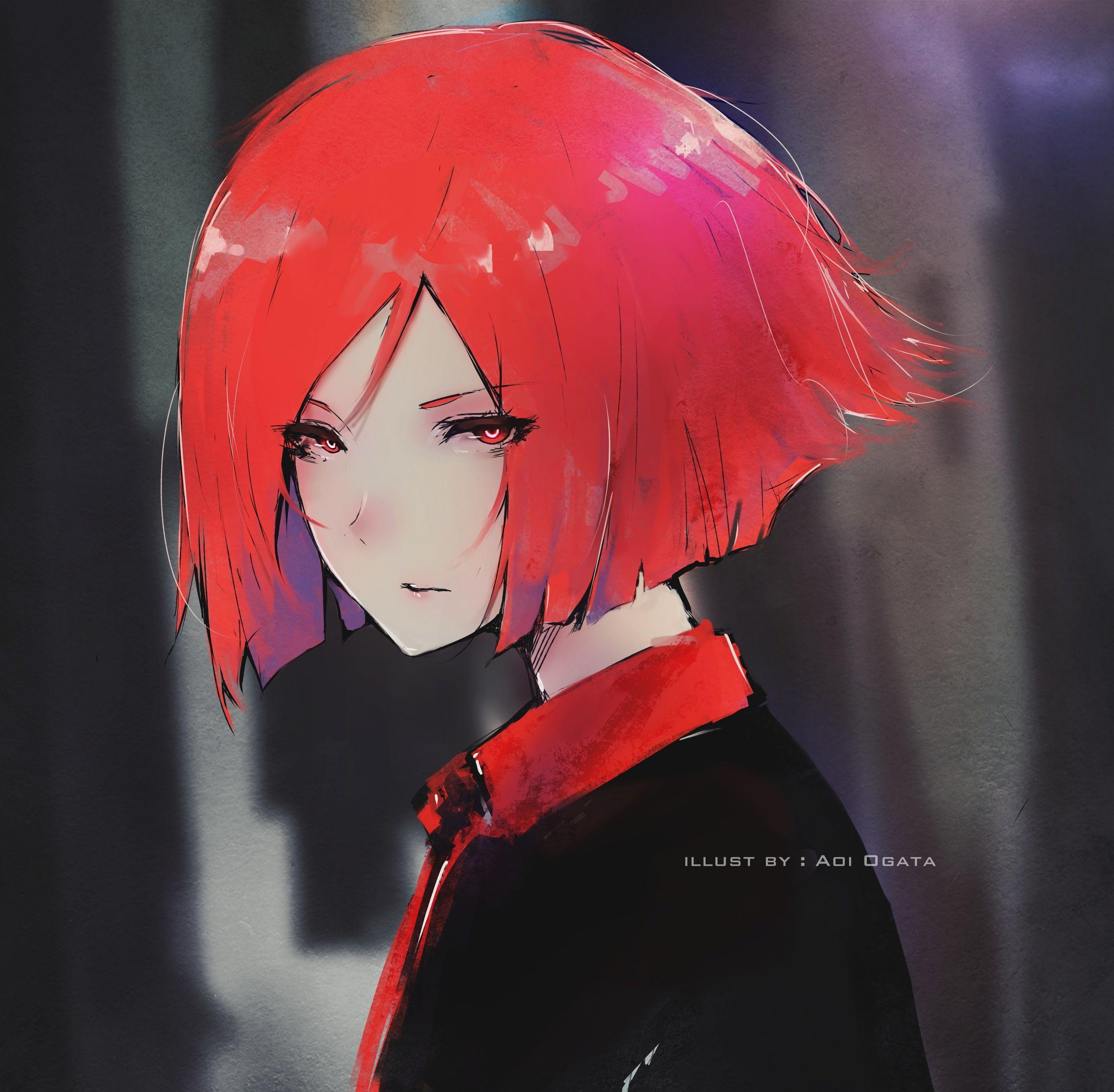 Aoi Ogata #redhead digital art #8K #wallpaper #hdwallpaper