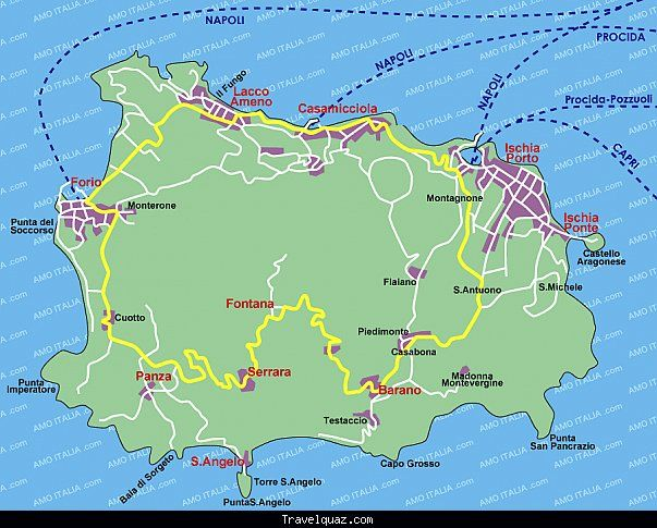 Map of Ischia httptravelquazcommapofischiahtml Travel