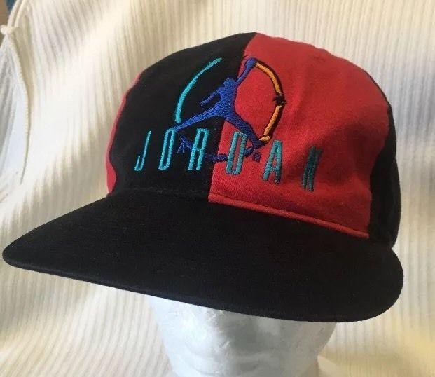 2c44b6d0685 Vintage Nike Air Jordan Snapback hat Block Letter Jumpman RARE Pinwheel  Style