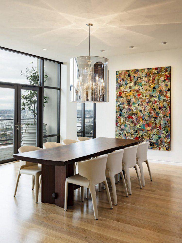tableau abstrait moderne, salle à manger contemporaine avec table en