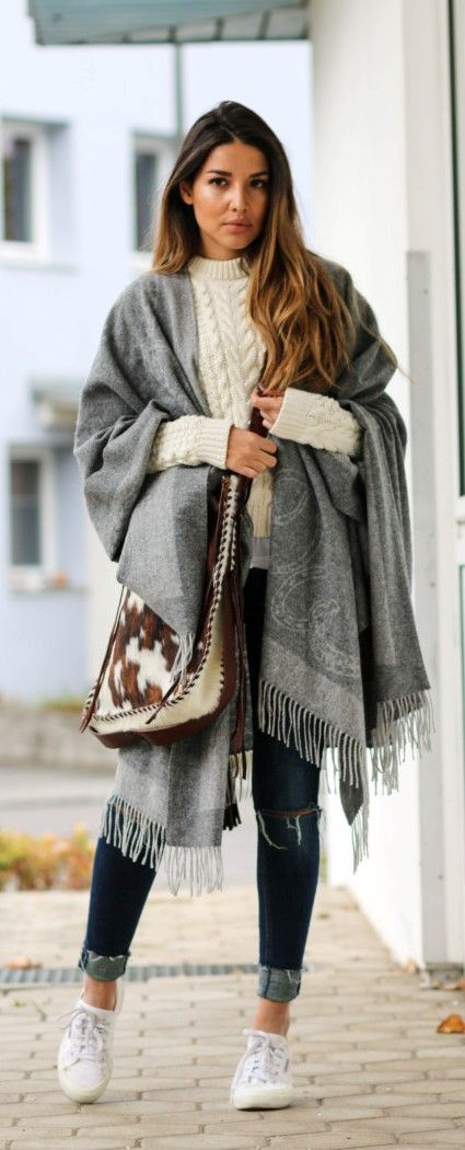 Blanket scarf casual fall outfit