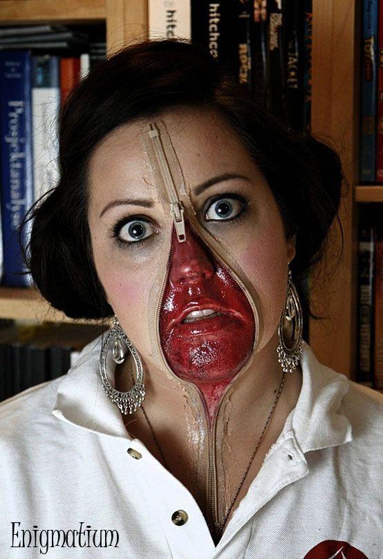 maquillaje terror Make Up Pinterest Zipper face and Halloween