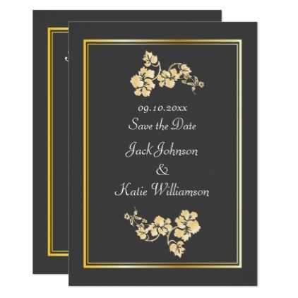 Save the date flower elements dark gray card wedding invitations save the date flower elements dark gray card wedding invitations cards custom invitation card stopboris Gallery