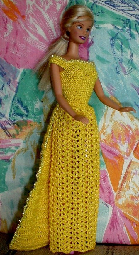 Free crochet pattern for dress with beads | crochet barbie clothes ...