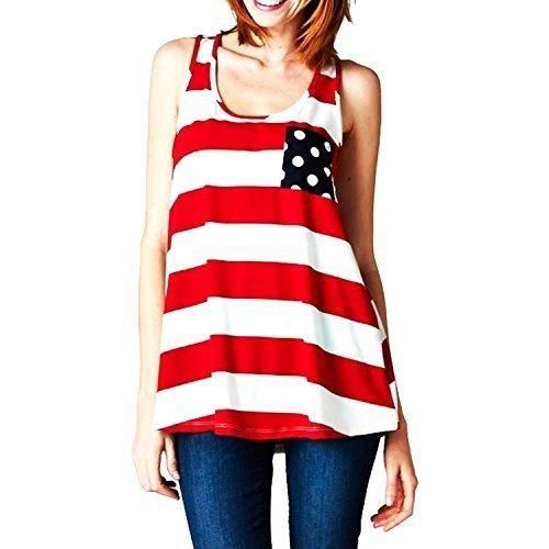 Women Sexy Stripes Tank Top Patriotic Back Bowknot T Shirt Red Asian XL US 8