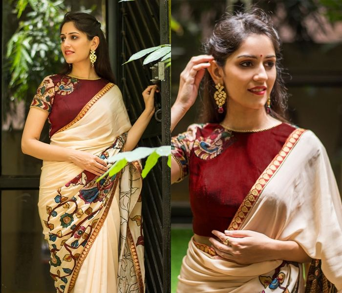 fd16383273b0bb Want to wear kalamkari blouse with plain sarees  Then check out this  complete guide on how to shop the right kalamkari blouse design.