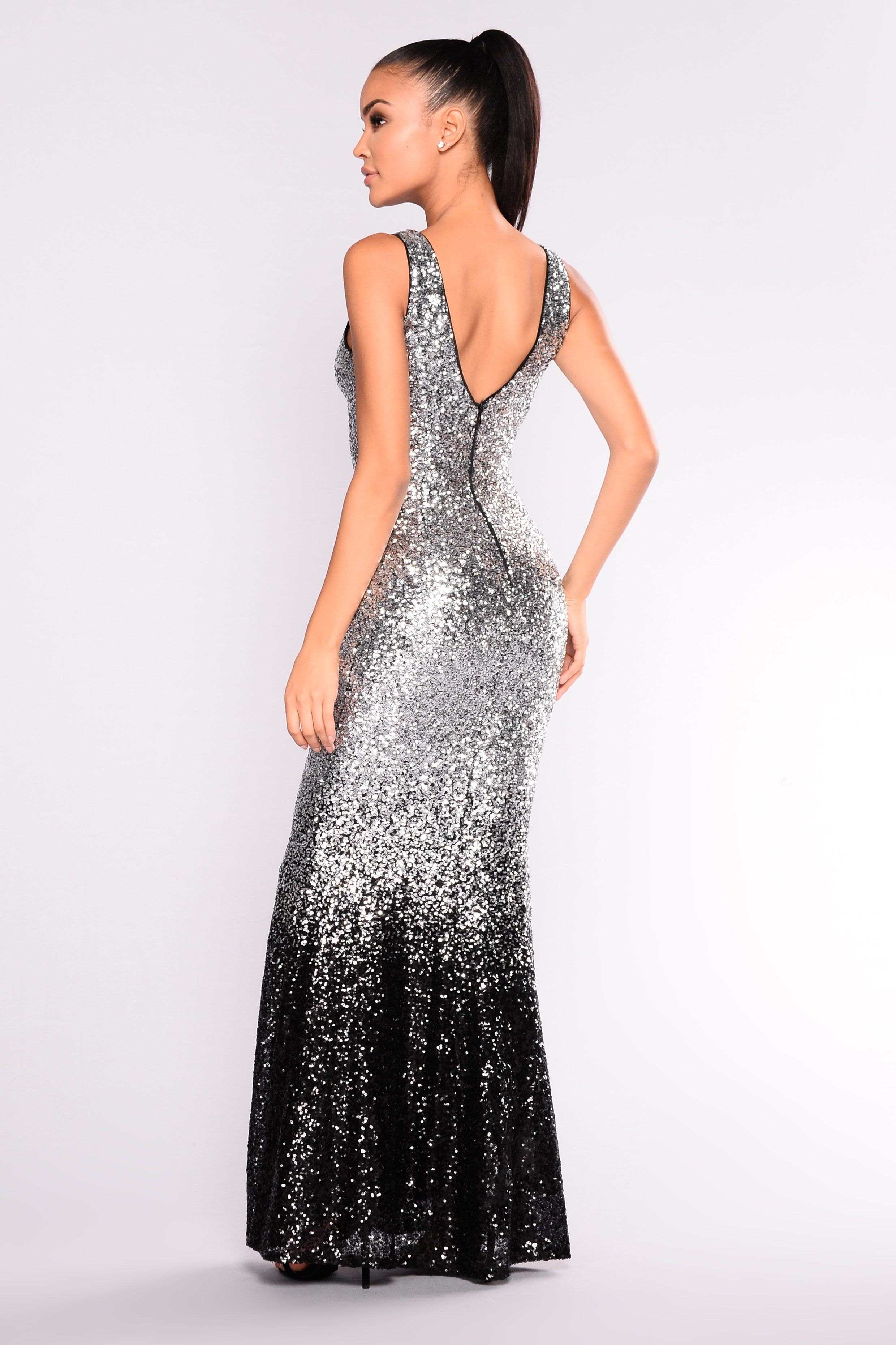 f717ad573ffe5 Stars Are Bright Sequin Dress - Silver Black