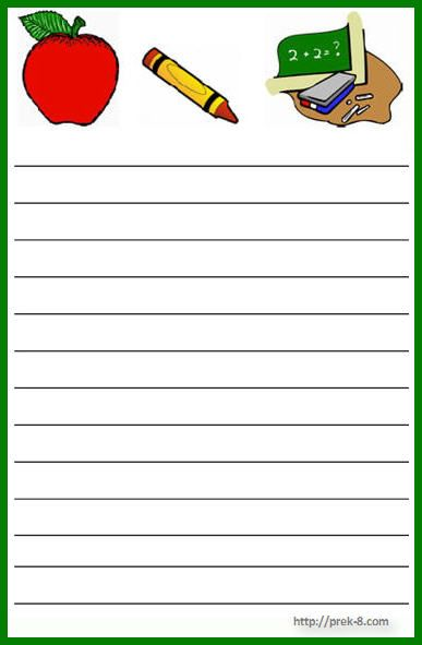 school theme notepad Diseños Escolares marcos, etiquetas - printable writing paper template