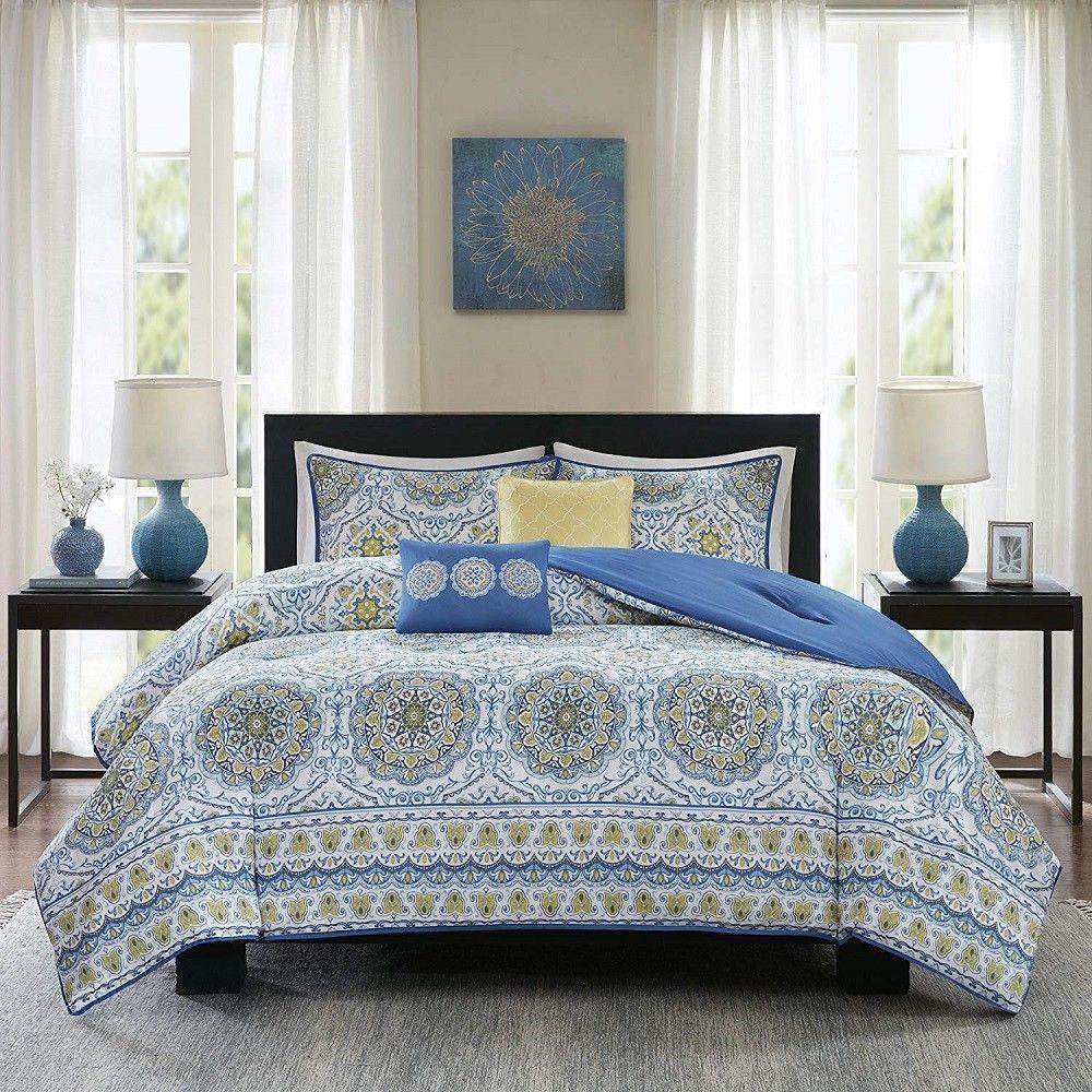 Medallions King Comforter Set Blue Hypoallergenic Bedding Blanket