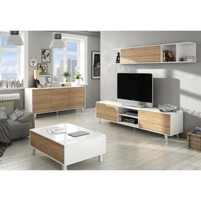 Zaiken Plus Meuble Tv Scandinave Blanc Brillant Et Decor Chene L 180 Cm Mobilier De Salon Meuble De Style Decoration Meuble Tv