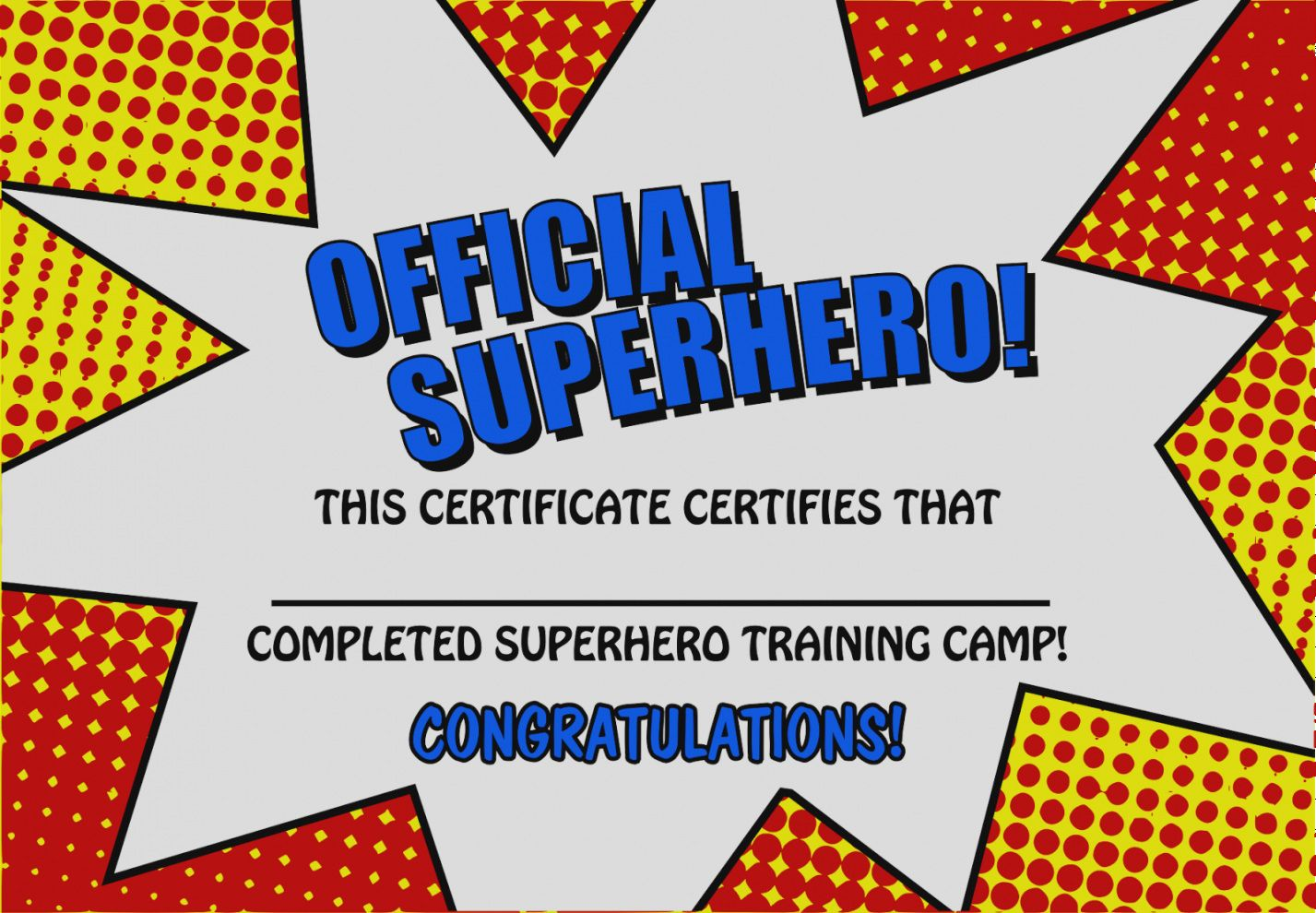 Gallery Of Superhero Certificate Template Free Printable Templates