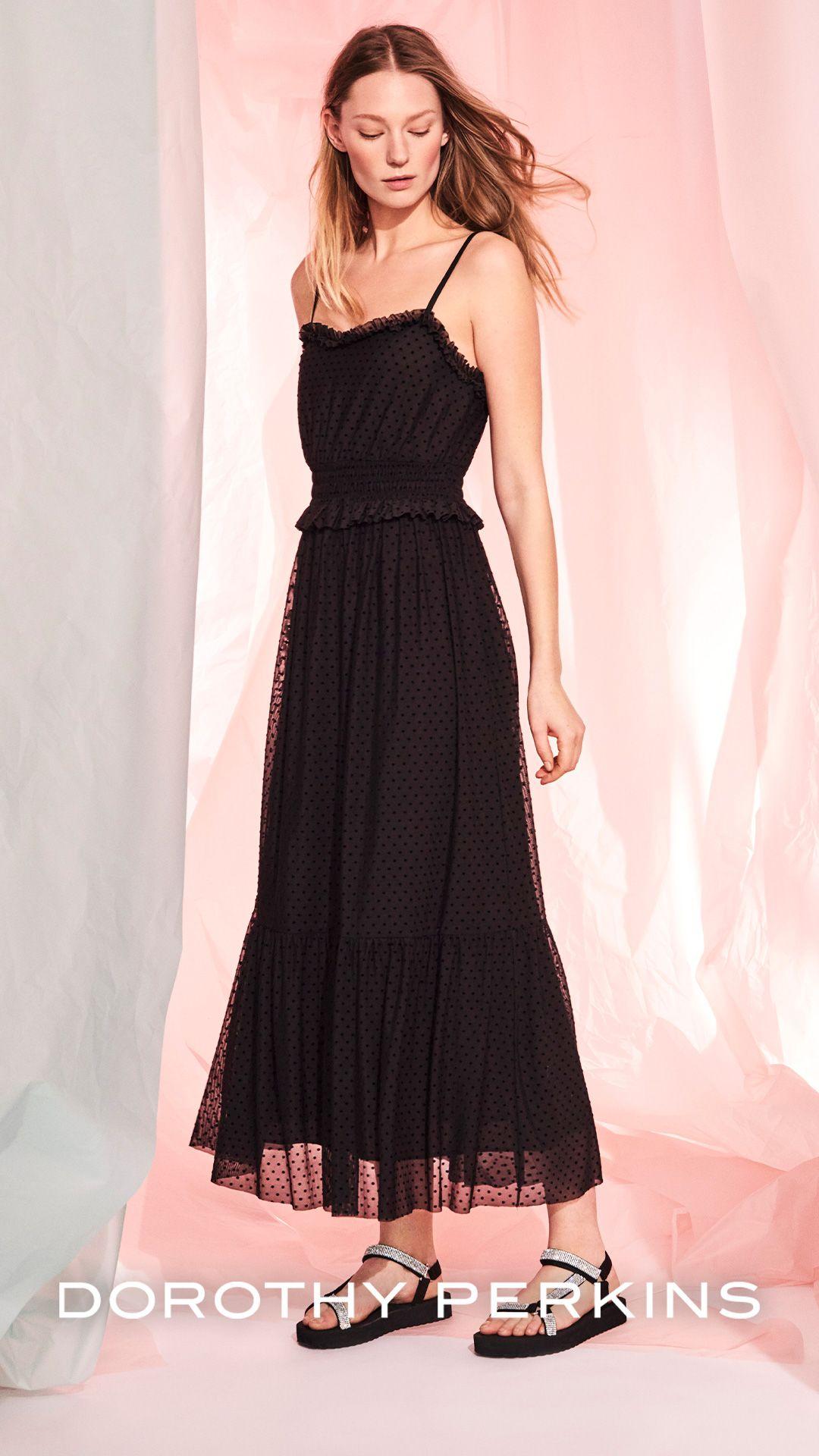 Black Mesh Flock Dobby Midi Dress Dresses Summer Black Dress Summer Fashion Dresses [ 1920 x 1080 Pixel ]
