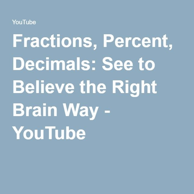 Fractions, Percent, Decimals: See to Believe the Right Brain Way ...