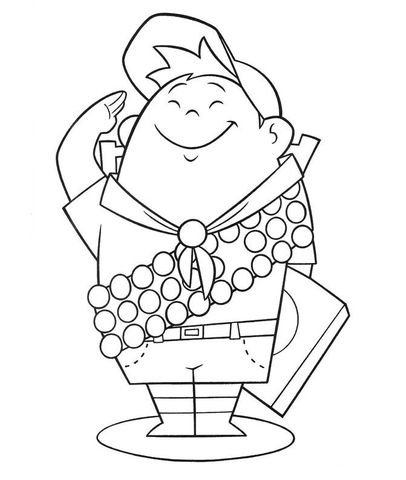 Russell 8 Year Old Wilderness Explorer Coloring Page From Up Category Select Coloring Books Cartoon Coloring Pages Cool Coloring Pages