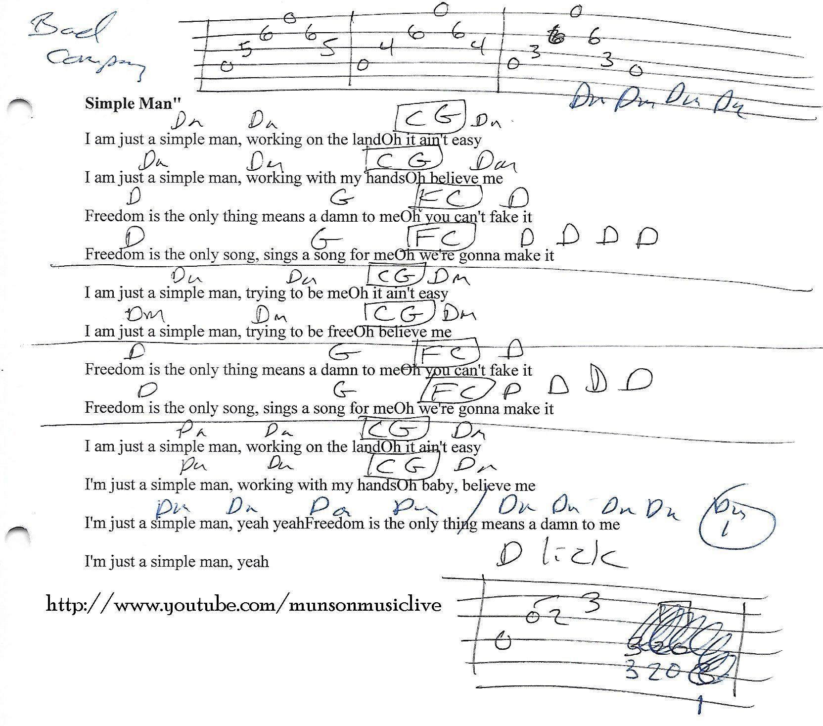 Simple Man Bad Company Guitar Chord Chart Guitar Lesson Chord