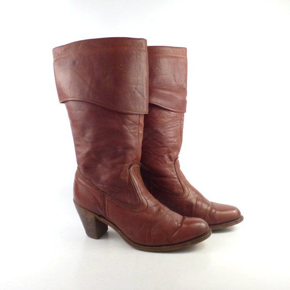 56254d8c47cdf Dexter Boots Vintage 1970s Stacked Heel Riding Dex Whiskey Brown ...