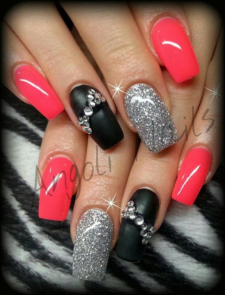 matte black silver glitter neon