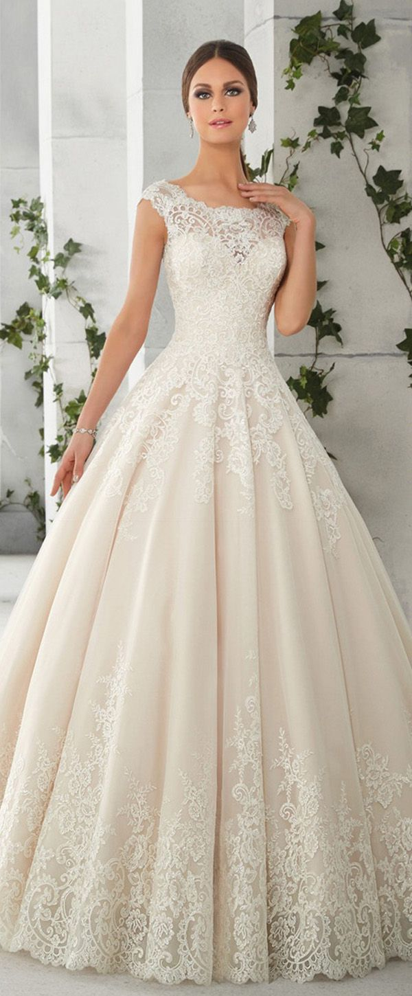 Charming Tulle & Satin Scoop Neckline ALine Wedding Dresses With Lace Appliques is part of Wedding dresses lace -