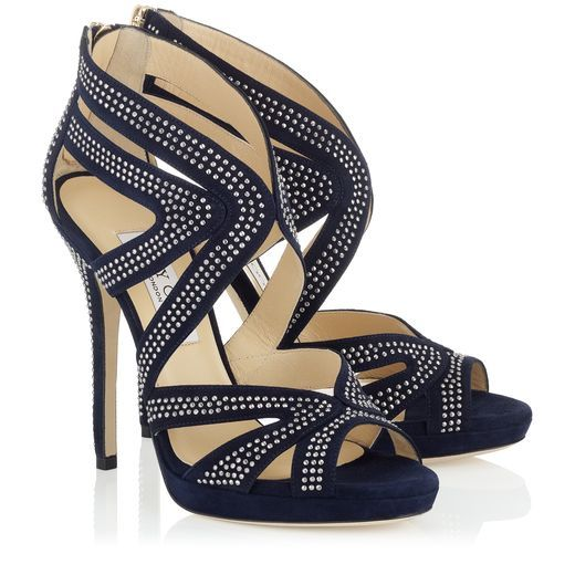 245e93cf58e5 Jimmy Choo COLLAR Navy Suede Platform Sandals with Studs