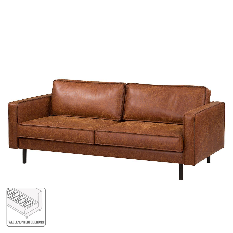ars manufacti Sofa Fort Dodge 3-Sitzer Cognac Kunstleder 207x81x96 cm